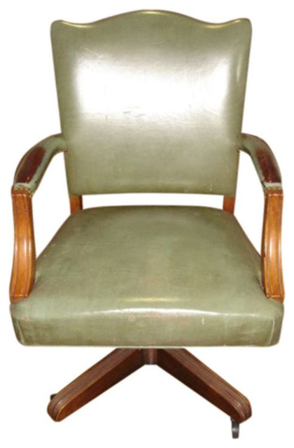 SOLD OUT! Swivel Wood and Leather chair - $500 Est. Retail - $250 on Chairish.co midcentury-office-chairs