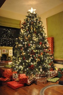 a gorgeous lit and decorated Balsam Hill Norway Spruce