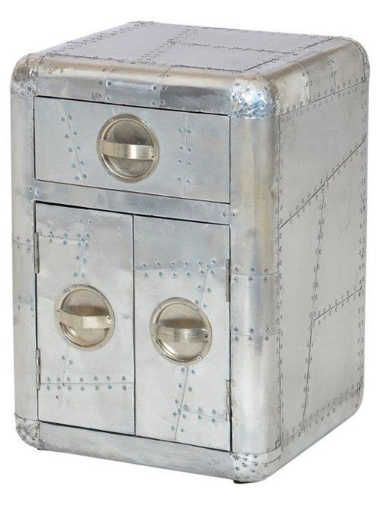 SeventhStaRetail - Aviator Aluminum Bed Side Table with Door - Aviator Bed Side Table with Door and Drawer