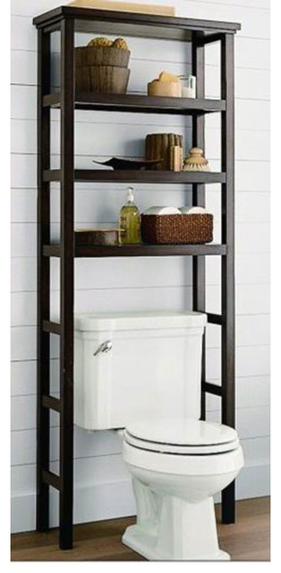 Space Saver Over the Toilet Rack - Brown contemporary-toilet-accessories