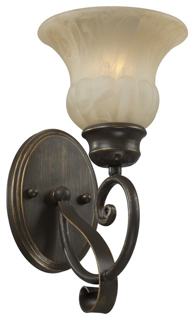 """Country - Cottage Amber Marbleized Glass 12 1/4"""" High Wall Sconce traditional-wall-lighting"""