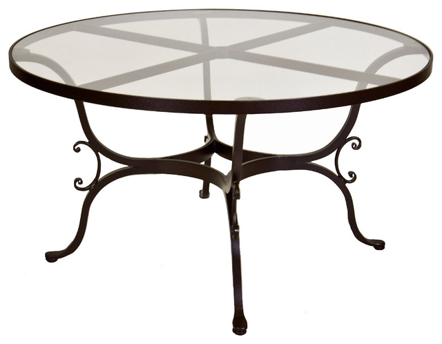 Ashbury round glass top dining table with 2 umbrella hole for Dining room tables milwaukee