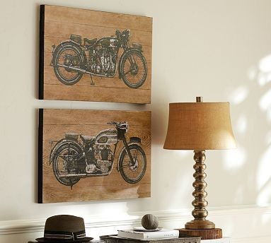 Motorcycle Wood Wall Art Set Of 2 18 X 30 Quot Traditional