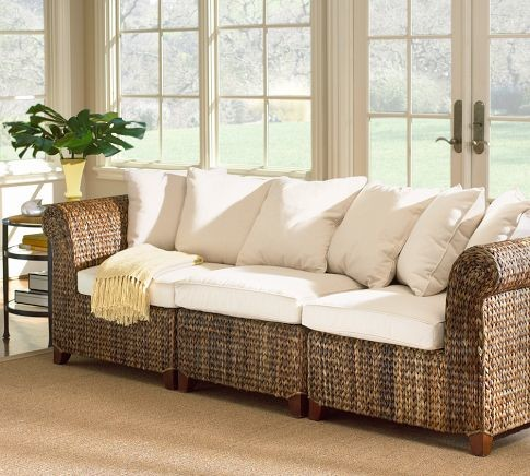 Seagrass 3-Piece Sofa | Pottery Barn - tropical - patio furniture