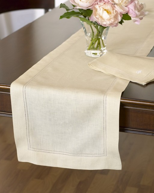 Hemstitched Linen Table Runner - Traditional - Table Runners - by Williams-Sonoma
