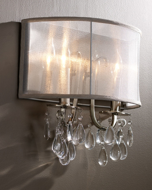 Hampton polished chrome crystal wall sconce with silver for Contemporary bathroom wall sconces