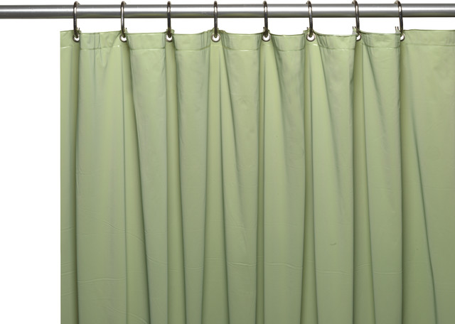 Mildew Resistant 10 Ga Vinyl Shower Curtain Liner W Metal Grommets In Sage Traditional