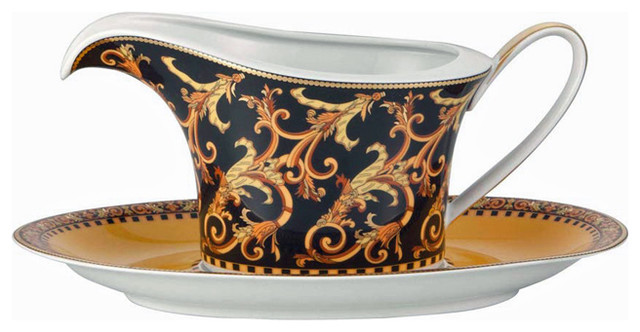 Versace barocco sauce boat w stand traditional gravy boats