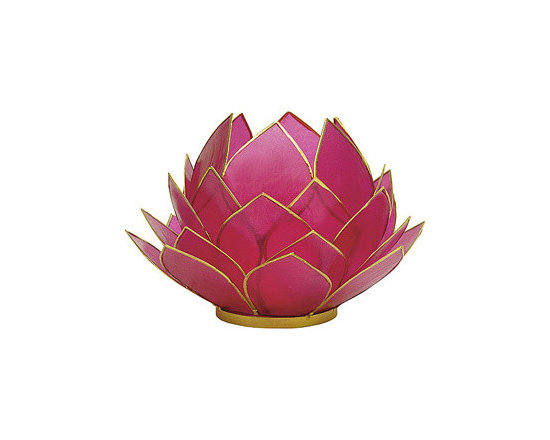 Fuchsia Pink Full Bloom Capiz Lotus Candleholder -