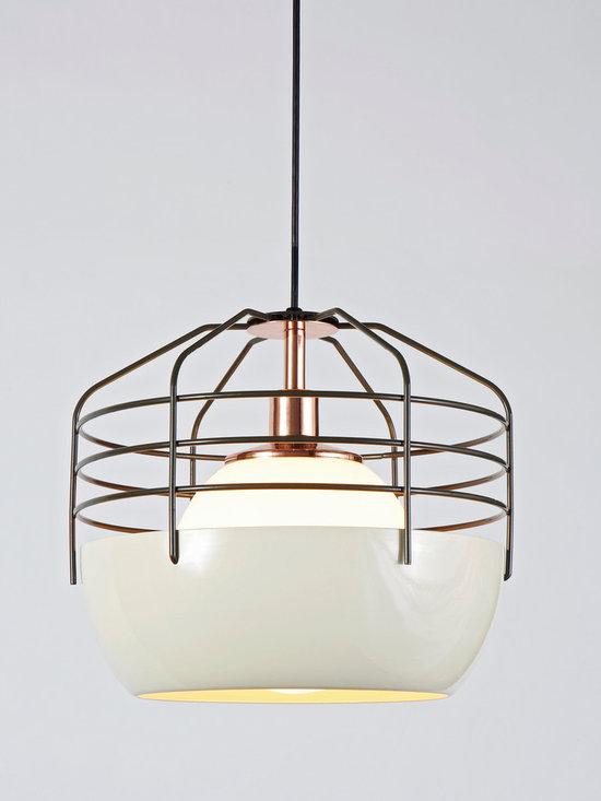 Bluff City Pendant - 14 inch - Cream/Brown - Bluff City merges a traditional pendant shade and a wire cage into an industrially inspired but refined pendant. A variety of finish combinations gives the light a vaguely postmodern feel that echoes the Memphis movement. However, the Tennessee town, known as Bluff City, was the inspiration for the series. By Jonah Takagi for Roll & Hill. Photo credit: Joseph de Leo