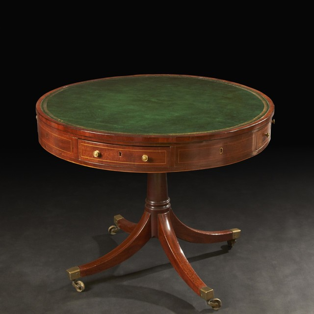 Regency Mahogany Leather Top Drum Table traditional