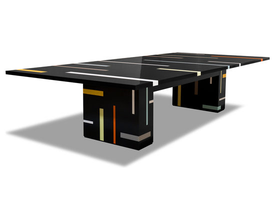 Corian Inlay Dining Table - Custom inlay dining table made from Dupont Corian Design by Jonah Zuckerman - City Joinery. Fabrication by Sterling Surfaces. Photo by Jeff Baumgart.