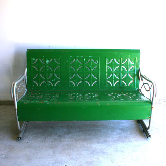 Spring Green Vintage Glider Metal Bench By rhapsody attic traditional benches