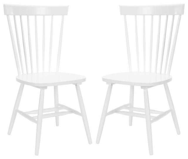 Country Lifestyle Spindle Back White Dining Chair Set contemporary-dining-chairs