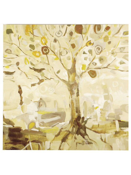 Ballard Designs - Peacock Tree Art - Made in the USA. Fine art reproduction. Neutral tones work in any decor. A whimsical blending of form and color, this modernist landscape by Jodi Maas re-imagines a peacock's tail in woodland tones of golden yellow, leaf green, bark brown and Belgian oak. Digitally printed on gallery-wrapped canvas with hand brushed acrylic finish. Peacock Tree Canvas features: . . .