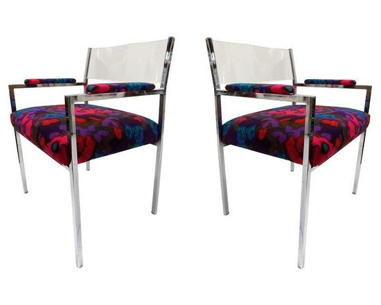 """Pre-owned Mid-Century Lucite & Chrome Armchairs - A Pair - A fabulous pair of 1960-70s vintage Lucite and chrome armchairs. The chairs feature thick Lucite backrests with a chrome frame and original 1960s mod upholstery. They are in good vintage condition. The chrome is in good condition. There is a bit of oxidation on the inner corner of the arm rests. These chairs are very comfortable and would be a great addition to any Mid-Century Modern, eclectic or vintage d̩cor.    Height of seat: 17.5""""."""