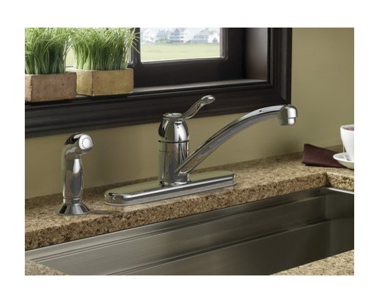 Moen Adler Chrome one-handle kitchen faucet - The Adler™ family offers a classic style and one–handle convenience.