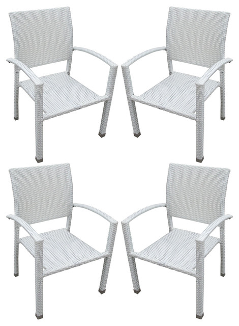 Four Bella Outdoor Stackable Dining Chairs in White modern outdoor dining chairs