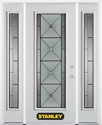Full lite pre finished white steel entry door with for Home depot exterior doors canada