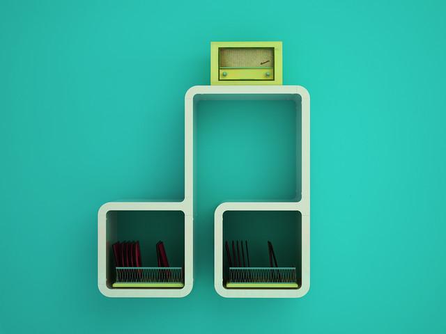 Music Score Design Wall Shelf contemporary-display-and-wall-shelves
