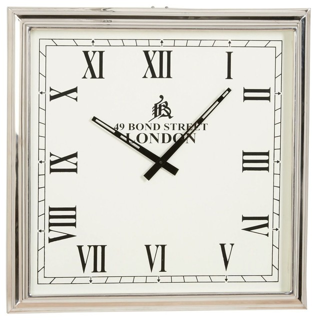 Nickel Square Wall Clock Traditional Wall Clocks By