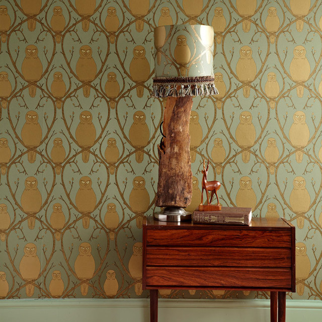Abigail Edwards Briar Owl Wallpaper eclectic-wallpaper