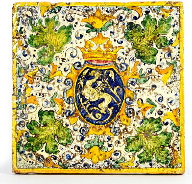 Majolica reclaimed tuscan square tile with medieval crest mediterranean home decor by - Crest home design curtains ...