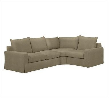 PB Comfort Square Arm Slipcovered Left 3-Piece Wedge Sectional, Knife-Edge Cushi traditional-sectional-sofas