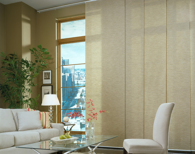 Panel track blinds contemporary living room brown for Living room vertical blinds