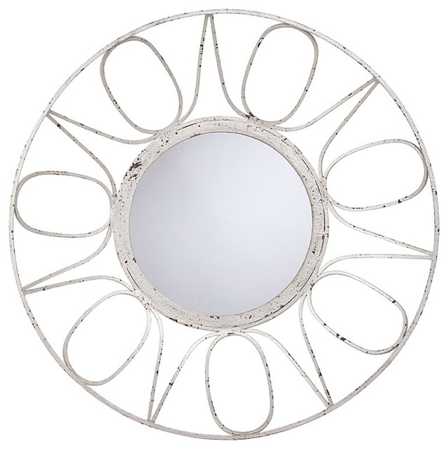 Winona Antique Silver Leaf Contemporary Bowl Shaped Mirror transitional-mirrors