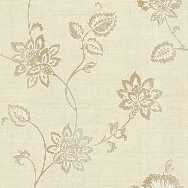 Gemini Beige Jacobean Trail Wallpaper traditional-wallpaper