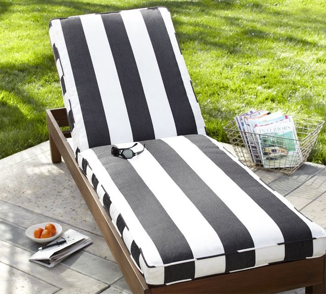 Chaise cushion black white stripe sunbrella modern for Black and white striped chaise lounge cushions