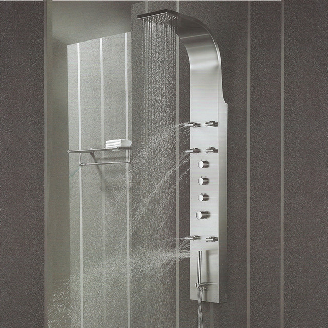 Stainless Steel Thermostatic Shower Panel - Modern - Shower Panels And Columns - by Hudson Reed