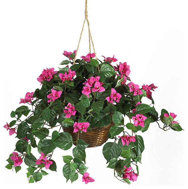 Bougainvillea Silk Plant Hanging Basket Contemporary