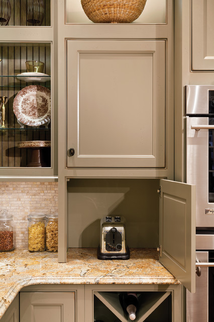 Wall Cabinet with Appliance Door Contemporary Kitchen