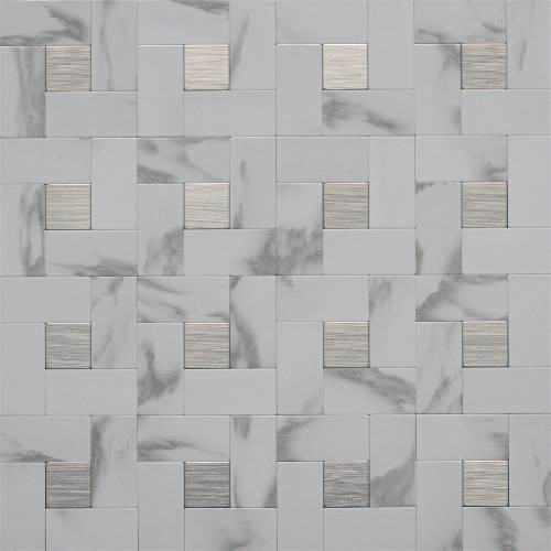 Ekb Innovations Ekb 03 108 Peel N Stick Wall Tile White Marble Silver Contemporary Tile