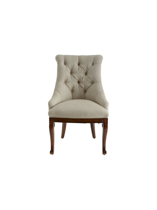 """Horchow - Lucille Host Chair - Classic host chair with tufted back and uniquely carved side chairs will be handsome additions to any dining or living area. Made of pine solids and mahogany veneers. Flax/cotton upholstery. Host chair, 23""""W x 26.5""""D x 41""""T. Boxed weight, approximate..."""