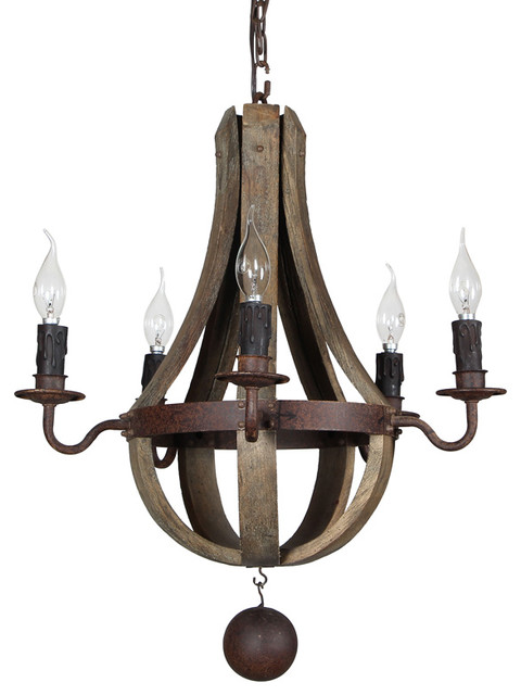 Terracotta Designs Elena 5 Light Wine Barrel Mini Chandelier Rustic Chand