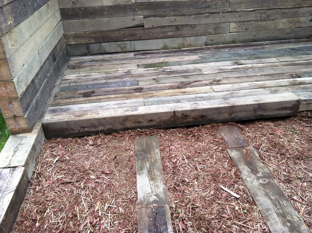 Cabin Flooring Using 6 X 6 Planking Cedar Chips Used To