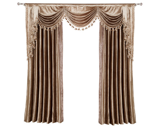 """Ulinkly.com - Luxurious window curtain - Velvet Rocks, 54""""*84"""", 2 Panels with Valance , - This price includes 2 panels and valance."""
