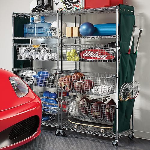 Metallic-finished Sports Shelving with Pull-out Bins traditional garage and shed