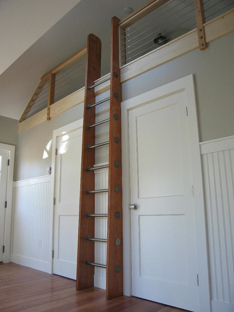 Custom Crafted Loft Ladder, Library Ladder by Historic Flooring modern
