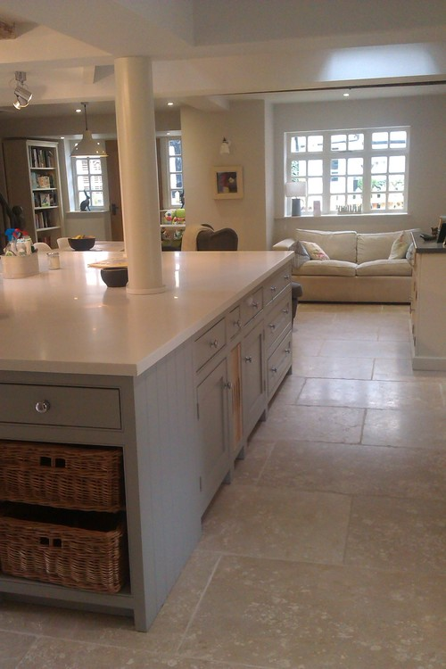 lamp room grey' on island cabinets and 'shaded white' on wall cab