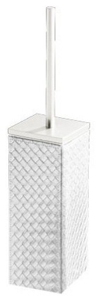 Square Faux Leather Toilet Brush Holder, Pearl White contemporary-toilet-brushes-and-holders