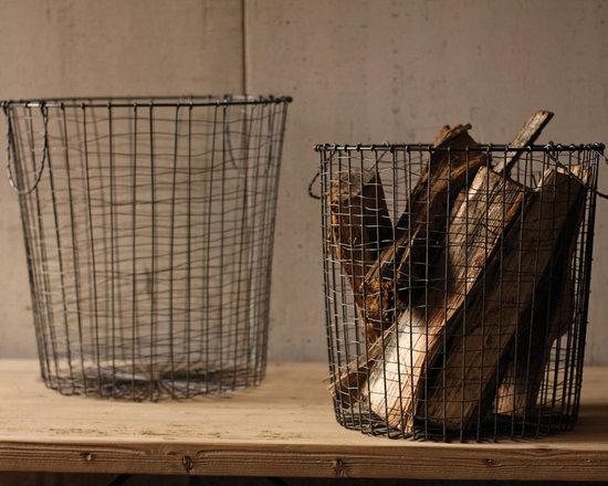 Round Vintage Utilitarian Wire Baskets (Set of 2) -