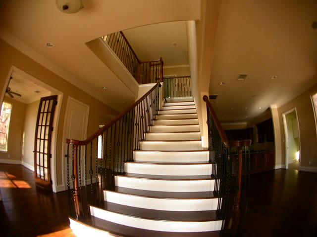 texas lake house traditional-staircase