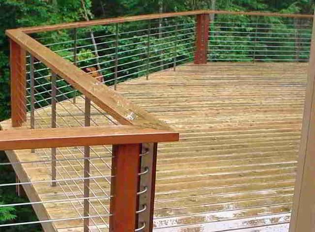 Deck patio porch balcony cable railing modern home
