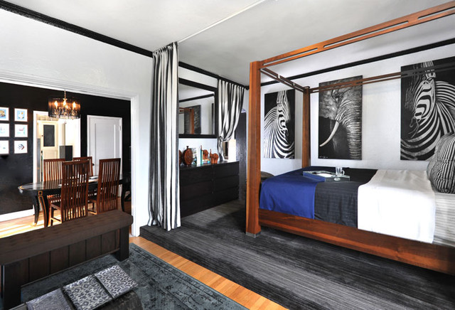 Black and White contemporary-bedroom