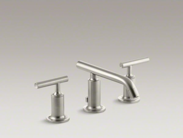 KOHLER Purist(R) widespread bathroom sink faucet with low lever handles and low contemporary-bathroom-faucets