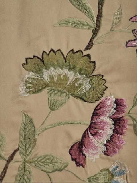 Embroidered Floral Faux Silk Fabrics